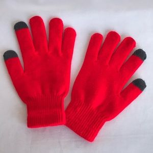 Red gloves with two gray fingertips on each hand
